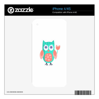 Owl With Party Attributes Girly Stylized Funky iPhone 4 Skin