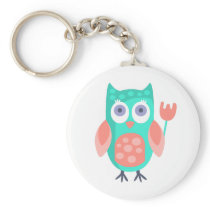 Owl With Party Attributes Girly Stylized Funky Keychain