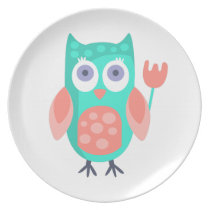 Owl With Party Attributes Girly Stylized Funky Melamine Plate