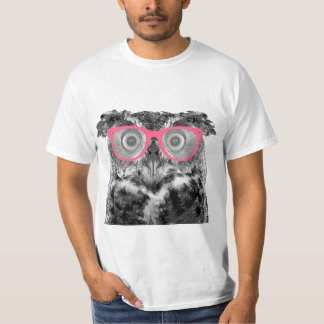 Owl with Pink Glasses Cute Funny T-shirt
