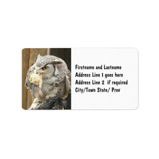 Owl with Prey Color Photo Label