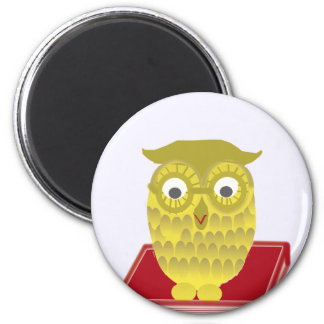 owl with red book 2 inch round magnet