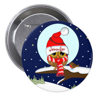 Owl with Santa hat & custom name button
