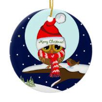 Owl with Santa hat & custom text Ceramic Ornament