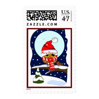 Owl with Santa hat & custom text postage