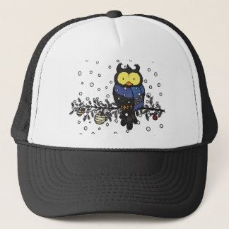 Owl with scarf trucker hat
