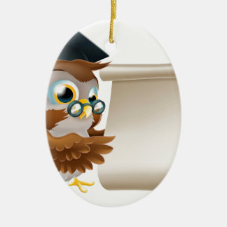 Owl With Scroll Document Ceramic Ornament