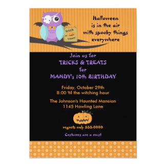 Owl with Skull Eyepatch Halloween Birthday 5x7 Paper Invitation Card