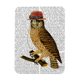 Owl with Steampunk Style Bowler Hat Magnet