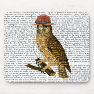 Owl with Steampunk Style Bowler Hat Mouse Pad