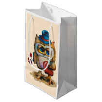 Owl with the heart Custom Gift Bag Small Beige