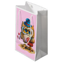 Owl with the heart Custom Gift Bag Small Pink