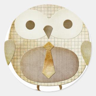Owl with Tie Classic Round Sticker