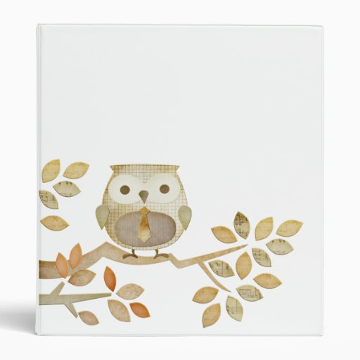 Owl with Tie in Tree Binder