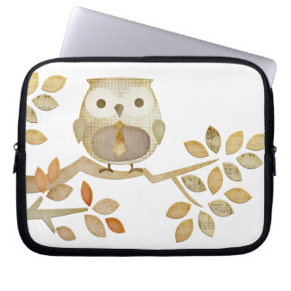 Owl with Tie in Tree Electronics Bag Laptop Computer Sleeve