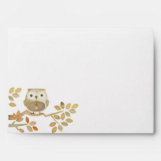 Owl with Tie in Tree Envelope