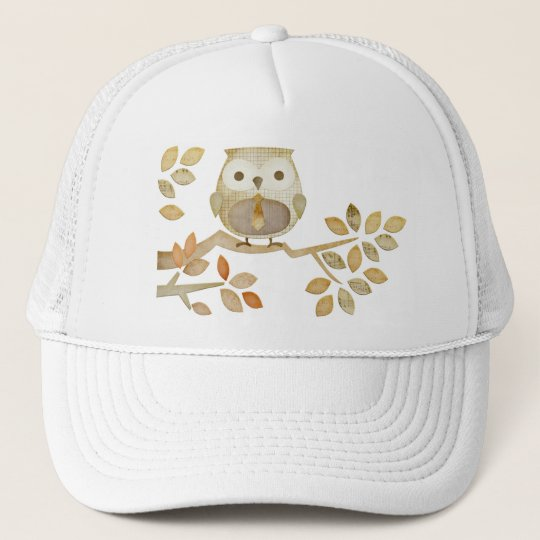 Owl with Tie in Tree Hat