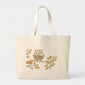 Owl with Tie in Tree Jumbo Tote Bag