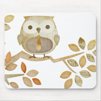 Owl with Tie in Tree Mousepad
