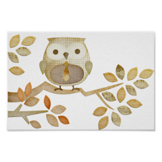 Owl with Tie in Tree Poster