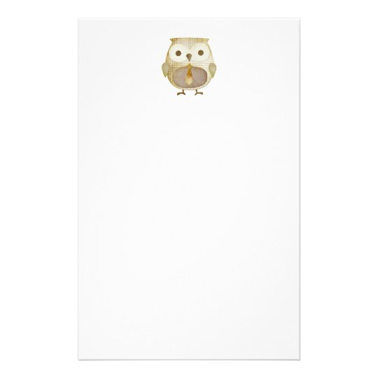 Owl With Tie Stationery
