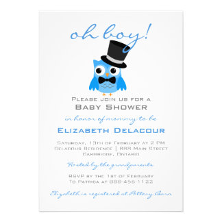 Owl with Top Hat & Bow Tie Baby Shower Invitation