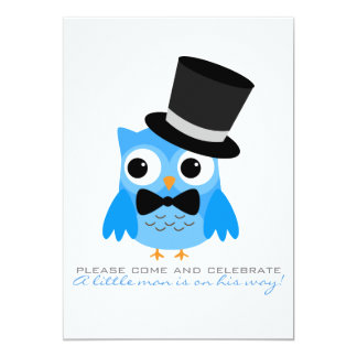 """Owl with Top Hat & Bow Tie Baby Shower Invitation 5"""" X 7"""" Invitation Card"""