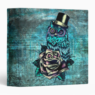Owl with top hat with rose in teal binder. binder