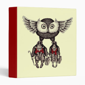 Owl with two people abstract graphic art binder
