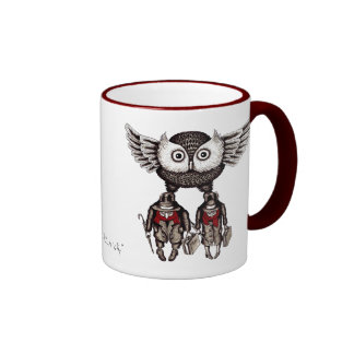 Owl with two people abstract graphic art mug