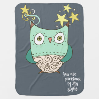 Owl with You are Precious in His Sight Lyrics Receiving Blanket