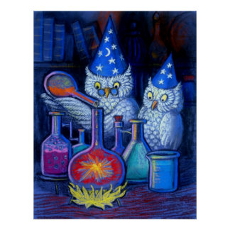 Owl Wizards Magic alchemy whimsical funny poster