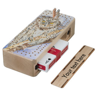 Owl Wood Cribbage Board