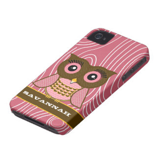 Owl Wood Grain Zig Zag Pattern Choose Your Color iPhone 4 Cover