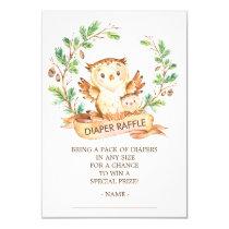 Owl Woodland Baby Shower Diaper Raffle Ticket Card