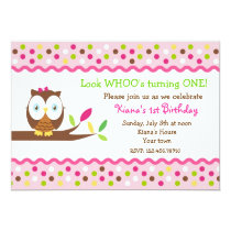 Owl Woodland Bird Birthday Party Invitations