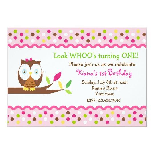 Owl Woodland Bird Birthday Party Invitations