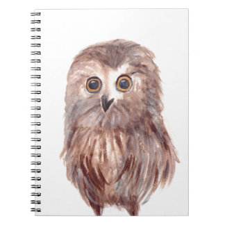 Owl woodland bird spiral notebook