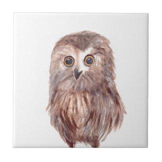 Owl woodland bird tile