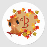 Owl Wreath B Classic Round Sticker
