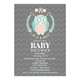 Owl Wreath Baby Shower - Girl Card