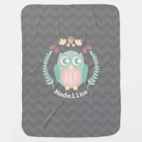 Owl Wreath Chevron Monogram Baby Blanket - Girl