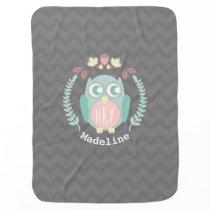 Owl Wreath Chevron Monogram Baby Blanket - Girl