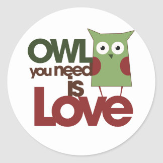 Owl you need is love classic round sticker