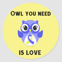 Owl You Need is Love, Down Syndrome Awareness Classic Round Sticker