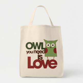 Owl you need is love grocery tote bag