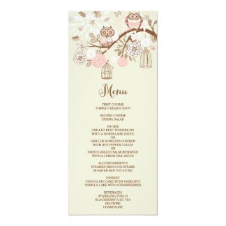 Owl You Need Is Love Pink Owls Menu Card