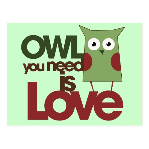 Owl you need is love postcard