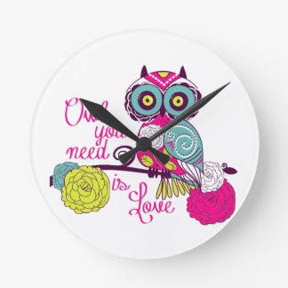 Owl you need is love round clock