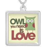 Owl you need is Love Silver Plated Necklace